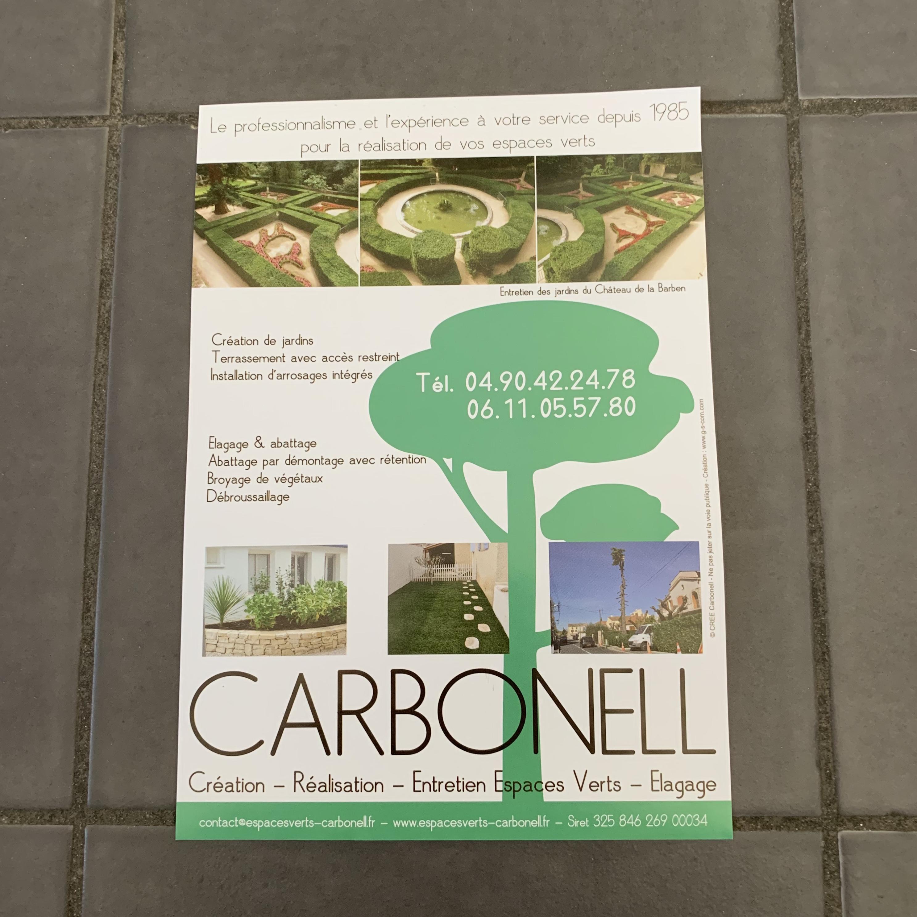 Flyer pour entreprise paysagiste CARBONELL à Grans (13)