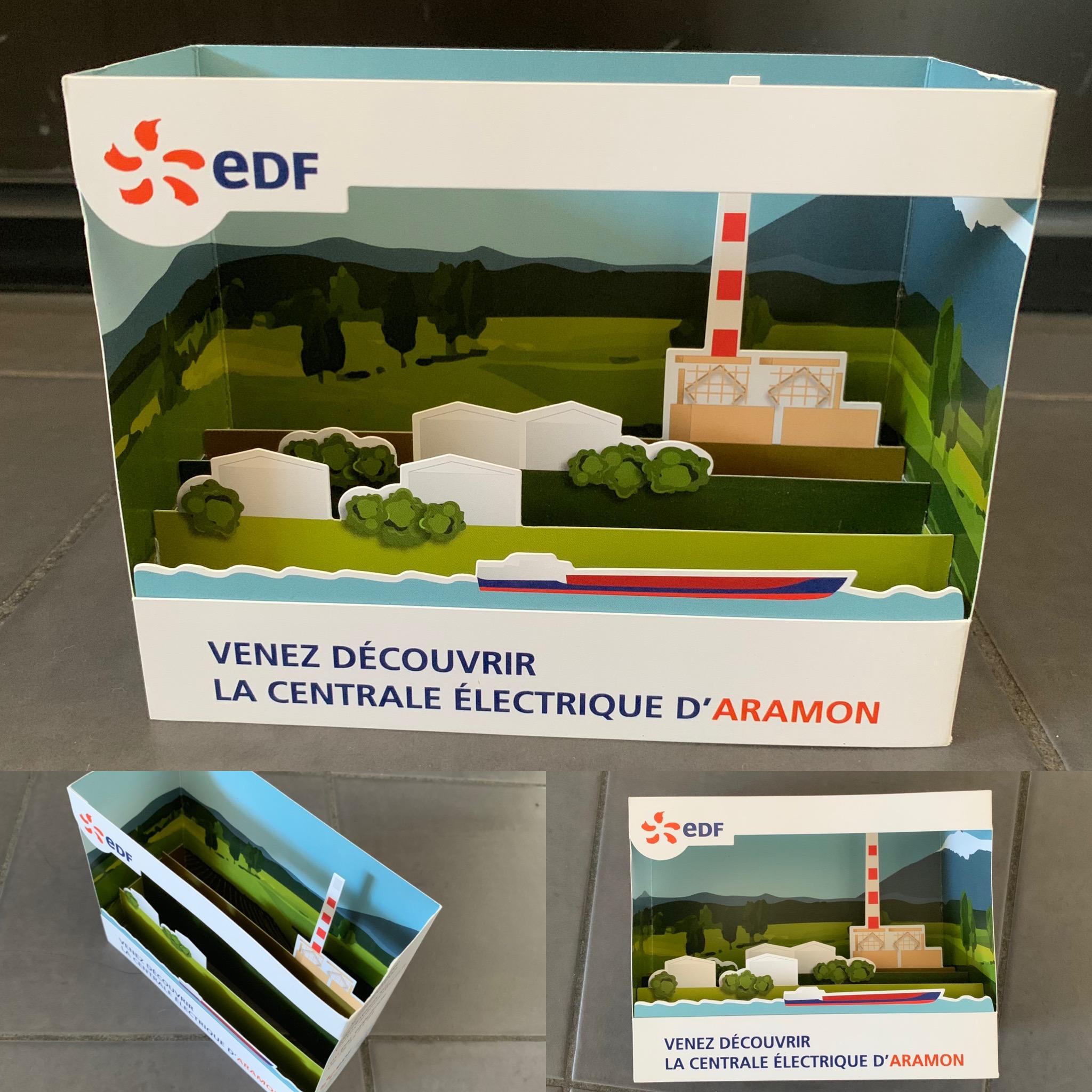 Carte Diorama représentant l'usine EDF d'Aramon (30)