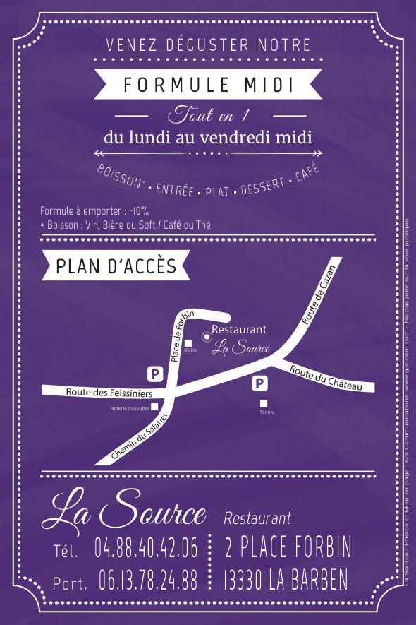 Flyer cartonné pour la nouvelle formule midi du restaurant La Source à la Barben 13330