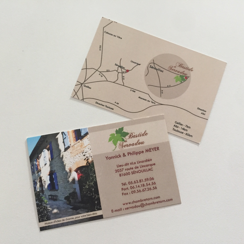 Cartes de visites pour la Bastide de Servadou