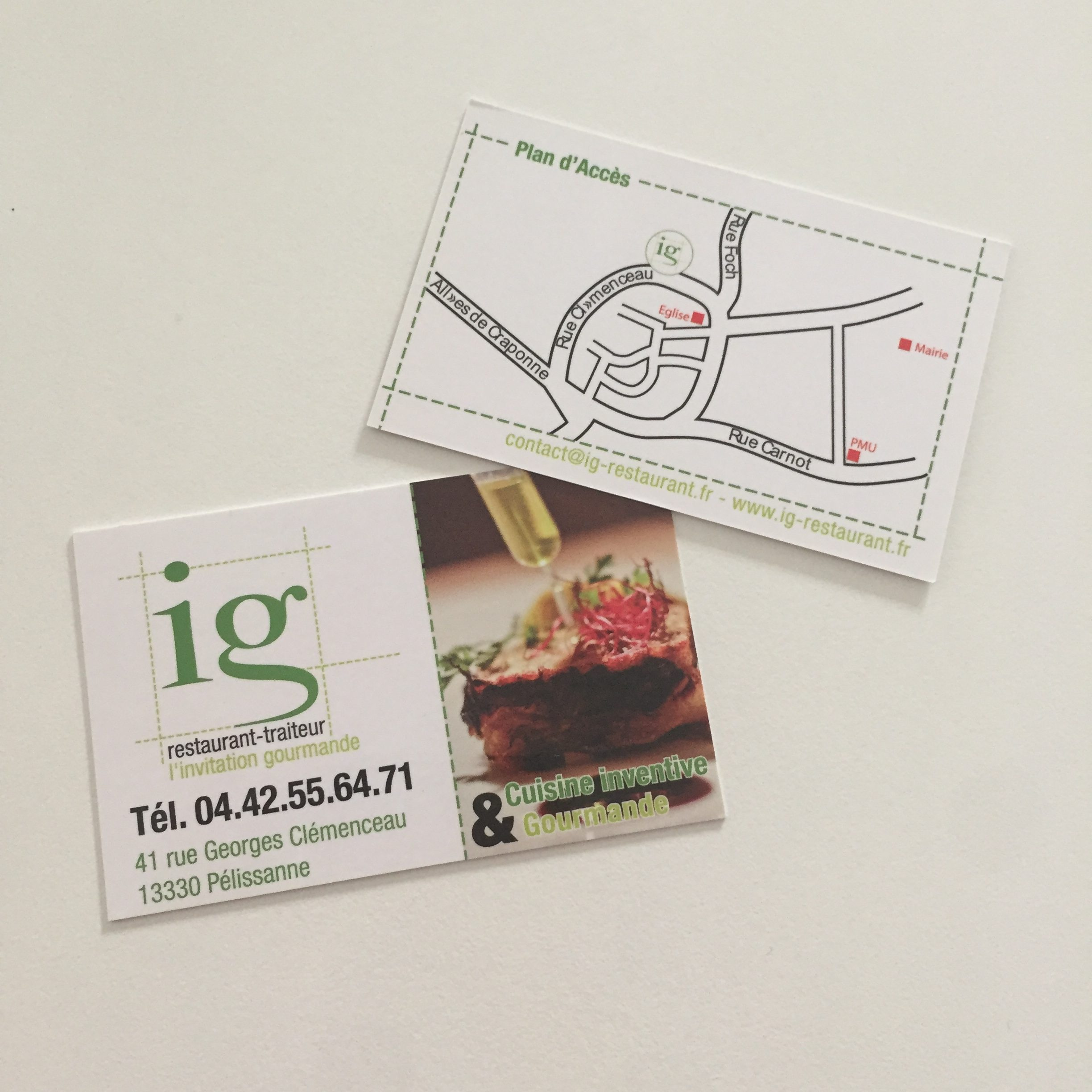 Cartes de visites pour L'Invitation Gourmande - Restaurant
