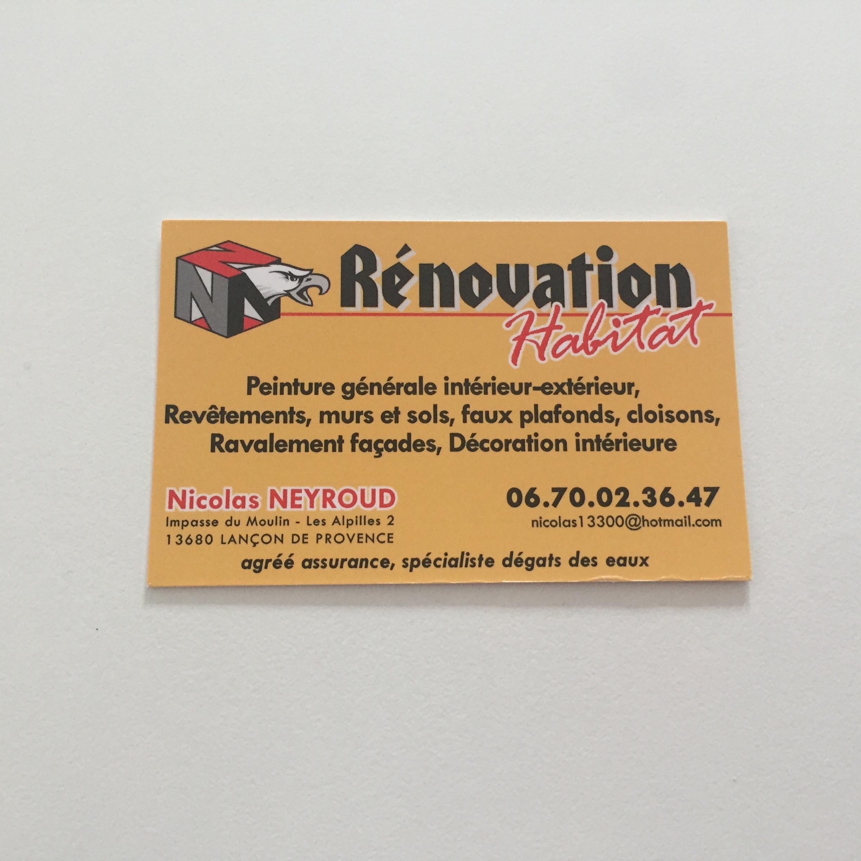 Cartes de visites pour N Renovation - Peintre