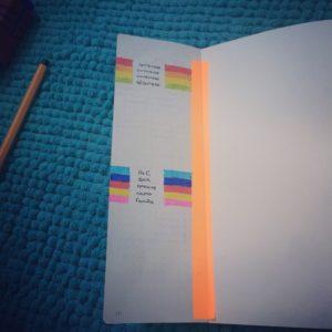 onglets code couleur pour le bullet journal